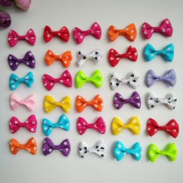 Hair Fall Products Australia - 100pcs lot 1.4Inch Cute Puppy Dog Small Bowknot Hair Bows with Clips Handmade Hair Accessories Bows Pet Grooming Products