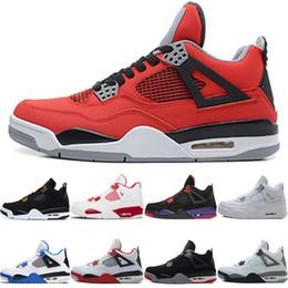 men basketball shoes toro red 2019 - Basketball Shoes 4 4s Men Raptors Pure Money Bred Royalty Black White Cement Fire Toro Bravo Red Sport Sneaker Size 41-4