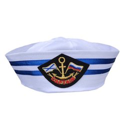 725272e89208c Military Hats Summer Caps Family White Flat Military Hat Costume Party  Cosplay Perform Stage Navy Sailor Cap Embroidery Captain Stripe