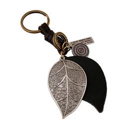 $enCountryForm.capitalKeyWord UK - CHAOMO punk jewelry wholesale hand-made alloy leaf leather key chain retro weave men's fashion pendant