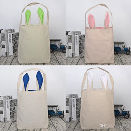 theme party supplies wholesale 2018 - Rabbit Ears Canvas Handbag Practical Portable Cute Easter Theme Gift Storage Bag Party Supplies For Kids Use Many Colors