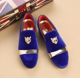 f2d41e10026 Fashion Trendy British Designer Men pointed velvet BLue Red Homecoming party  dress oxford wedding shoes flats loafers male moccasins dha27