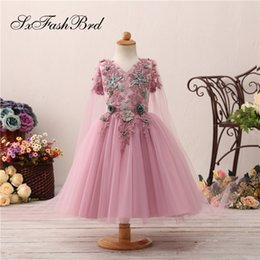 $enCountryForm.capitalKeyWord NZ - Fashion Lovely Flower Girl Dresses V Neck With Appliques A Line With Shawl Tulle Girl Pageant Dress Kids Formal Wear Wedding Party Dresses