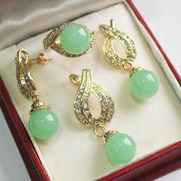 Jade Wedding Sets Australia - Jewelry 12mm Green jade Pendant Necklace Earrings Ring Set