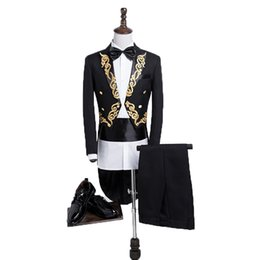 $enCountryForm.capitalKeyWord UK - Loldeal Men Gold Embroidery Floral Pattern Blazer Jacket Lapel Tail Coat Stage Singer Groom Black White Wedding Tuxedos