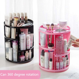 modern black beds 2019 - New Fashion 360-degree Rotating Makeup Organizer Brush Holder Jewelry Organizer Case Jewelry Makeup Cosmetic Storage Box