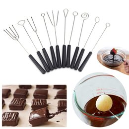 stainless cake fork NZ - 10pcs set Stainless steel Chocolate Dipping Fork plastic handle Candy Nuts Fruit Cake Fondue baking Pastry tool for chocolate