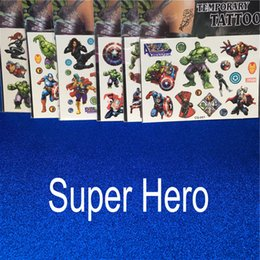 Wholesale Avengers Super Heroes Hulk Iron Man Capitain America Thor Temporary Tattoo Sticker Waterproof Tattooes Children Gift Drop Shipping