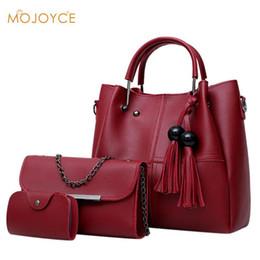 a39d01b37218 3pcs set Tassels Composite Bags Women Handbag+Shoulder Bag +Card Bag Ladies  Chain Crossbody Bags Girl Soild PU Leather Tote Set Y18102604