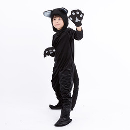 Cat Costumes NZ , Boy Halloween Black Cat Costume Children Carnival Stage  Performance Outfit Girl Fur