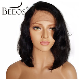 brazilian human hair caps 2019 - BEEOS Short Lace Front Human Hair Wigs With Baby Hair Non Remy 130% Density Brazilian Pre Plucked Lace Wigs Average Cap
