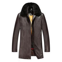 Chinese  2016 NEW FASHION MINK COLLAR RABBIT FUR LINNING MAN WINTER FUR COAT SHEEP SKIN LEATHER JACKET COAT manufacturers