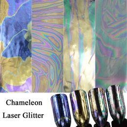 Glitter Nail Art Designs NZ - 4 Sheets Nali Art Chameleon Foils Sets 100x4cm Holo Colorful Laser Designs Nail Sticker Full Cover Glitter Nails Decals CHLS4