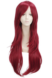 70cm Long Curly Wave Wigs Red Cosplay Hair Halloween Full Wavy Party Wig