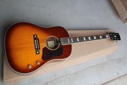 Guitar Electric Acoustic NZ - Free shipping Wholesale Classic John Lennon 70th J-160E acoustic 6 strings electric guitar cherry sunburst guitar