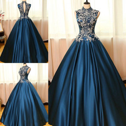 Chinese  2018 Latest High Neck Ball Gown Quinceanera Dresses Satin Sweet 16 Zipper Back Appliques Prom Dresses Party Gowns Special Occasion Dresses manufacturers