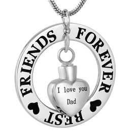 "necklaces best friend forever UK - IJD9783 Stainless Steel Engraved ""BEST FRIENDS FOREVER "" Ring with ""I Love You Dad"" Heart Urn Charm Cremation Pendant Necklace for Gift"