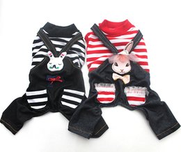 $enCountryForm.capitalKeyWord Canada - Dog Cat Striped Jumpsuit Pants Rabbit Design 100% Cotton Pet Puppy Coat Jacket Shirt Spring Summer Clothes Apparel 2 Colours 5 Sizes