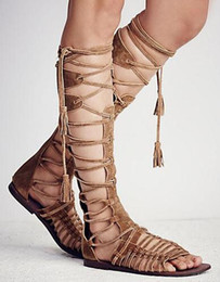 $enCountryForm.capitalKeyWord NZ - New Sexy Knee high Summer Booties Women Cut out Strappy Flat heel Suede leather Motorcycle Boots Tassel Rome Style Ladies Sandals