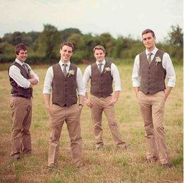Venta al por mayor de Nuevos chalecos marrones a medida para hombre traje para la boda slim fit alta calidad bazer padrinos de boda trajes de etiqueta