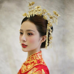$enCountryForm.capitalKeyWord Australia - Bridal costume, headwear, antique, Chinese style, crown ornament Wedding, dragon, Phoenix, gown, wine and clothing, Xiu he clothing accessor