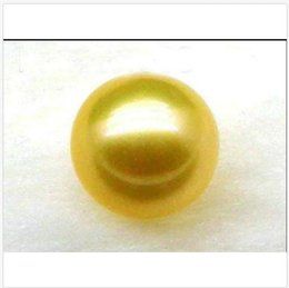 Drilling Pearl NZ - huge AAA12mm Natural Loose Top Golden Yellow South Sea Round Pearl Half Drilled