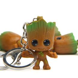 $enCountryForm.capitalKeyWord Australia - Funny key chain Baby Groot Guardian of The Galaxy Cute Mini Tree Man Key ring Pendant Toys Flower Pot Action Figure Ornament