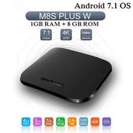 m8s 4k smart android tv box Canada - M8S Plus W Android 7.1 Smart TV BOX Amlogic Quad core 1GB 8GB Media Player 4K Mini PC ULTRA Set top box