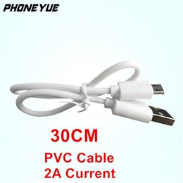 White Shorts Australia - 1Ft 30cm Short Full Copper White Powerbank Cable Micro USB Charging Cable Adapter for Android