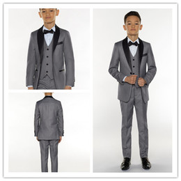 Gray Suit Champagne Tie NZ - Gray Three Pieces Boy Tudexos One Button High quality Kid Complete Designer Shawl Lapel Wedding Suit Custom-made (Jacket+Pants+Tie+Vest)