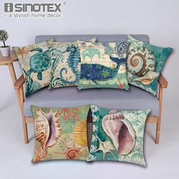 Marine yellow online shopping - 43 cm Vintage Cushion Cover Marine Sea Shell Pattern Linen Pillow Case for Couch Nordic Ocean Bedding Christmas Decoration