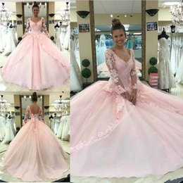 eaf03c47075 Charming quinCeanera dresses online shopping - 2018 Pink Quinceanera Dresses  Ball Gown V Neck Long Sleeve