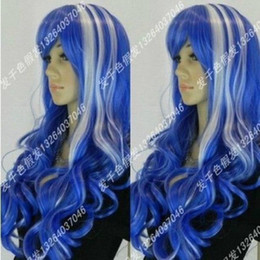 Long Hair Wave Style Australia - Harajuku Wind Fashion Blue Streaked White Long Cosplay Wigs Fashion Style Hair