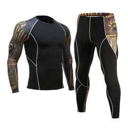 3d kits Canada - Brand Apparel Men's Compression muscle Shirt 3D tights Long Sleeve Men's Crossfit T-Shirt Leggings MMA rashgard kit S - 3XL 4XL