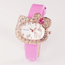 4616bec4d83 Hot Sales Cartoon Watch Hello Kitty Watch Children Girl Student Women Full  Crystal Dress Quartz lady Wristwatch Cute Watch