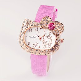 Wholesale Hot Sales Cartoon Watch Hello Kitty Watch Children Girl Student Women Full Crystal Dress Quartz lady Wristwatch Cute Watch
