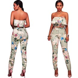 5c5102c074c6 Womens Two Piece Sets 2019 Casual Ruffles Plus Size Sexy Bodysuit Backless  Full Length Ladies Strapless Print Jumpsuit