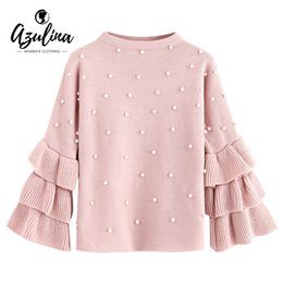 ee161d9a40a AZULINA Layered Ruffle Sleeve Faux Pearls Pullover Sweater Loose Jumper  White Crew Neck Cute Women Knitted Sweaters Pullovers