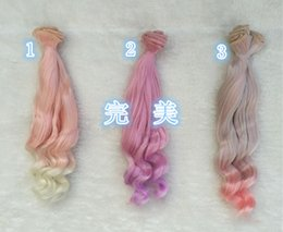 Discount gradient color wig - 3pcs lot Ball-jointed Doll wig 25cm large wave wavy row gradient color Dolls Accessories