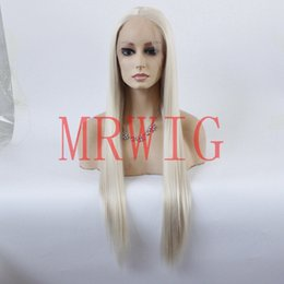 straight blonde synthetic wig Australia - MHAZEL #0809 blonde hair long straight front lace wig synthetic middle part 26in single hair color light brown lace