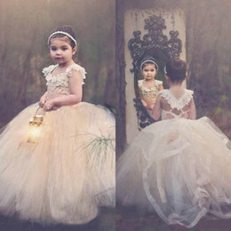 cheap green tutus NZ - Ball Gown Lace Flower Girls Dresses Toddler Tutu Cheap Cap Sleeve Cross Back Puffy Little Girls Kid First Communion Dresses