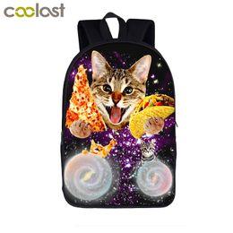 pizza gifts 2019 - galaxy pizza cat print backpack women men laptop bag teenager boys girls school backpack children school bags kids bookb
