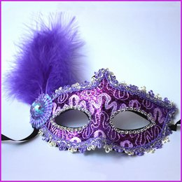 leather mask wholesale Canada - Halloween half-face mask Venice Princess Ball mask leather feathers funny mask men and women