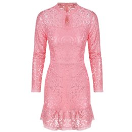 $enCountryForm.capitalKeyWord UK - Summer Lace Dress Pink Elegant Party Dresses Multi Way Dress 3 Choices F2949 Full Lace Long Sleeve Ruffled Hem