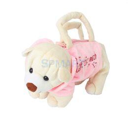 $enCountryForm.capitalKeyWord Australia - Cute Bear Shape Purse Bag Handbag Zipper Child Plush Soft Toy-Pink & Beige