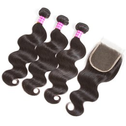 Chinese  2018 hot sale brazilian virgin hair 3 bundles body wave straigh with middle free part 4x4 lace closure human hair weave 10-26 inch manufacturers