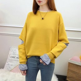 new women blouse korean NZ - Autumn new sweaters loose Korean version of the student jacket blouse autumn and winter shirts fake two sweater women