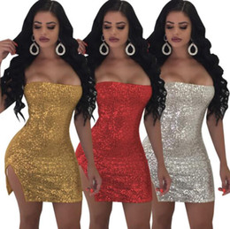 $enCountryForm.capitalKeyWord Australia - sequins strapless party dress split short evening skirts sexy night clue dresses glitter skirts blingbling designer lady dresses wholesale