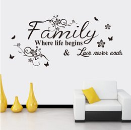 Discount family quotes for wall art - Letter Quote Wall Stickers Family Quote Wall Decal Removable Art Words Sticker Bedroom Living Room Decoration