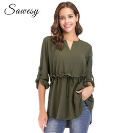 Discount peplum long blouse - Long Sleeve Peplum Tops Women 2018 New Arrival Green Ruffle Lace Up Women Tops And Blouse Dating Fashion Casual Womens S